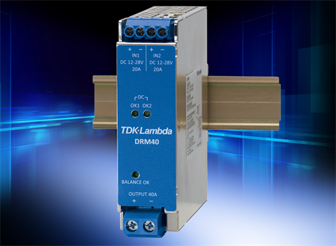Low loss, 20A to 40A DIN rail redundancy module has load sharing balance indication